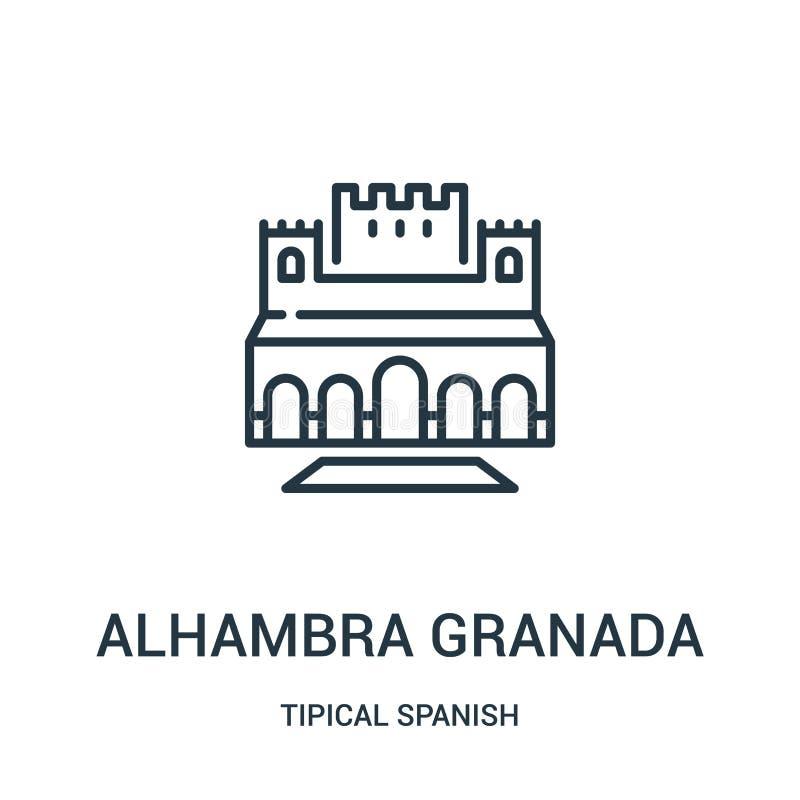 vetor do ícone de alhambra granada da coleção espanhola tipical Linha fina ilustração do vetor do ícone do esboço de alhambra gra ilustração stock