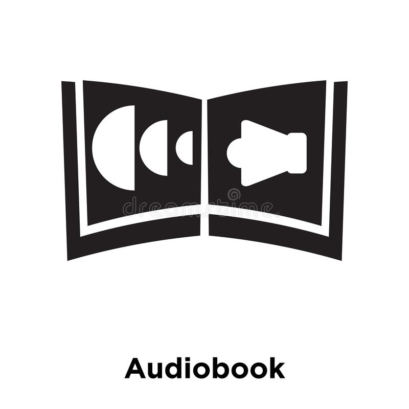 Vetor do ícone de Audiobook isolado no fundo branco, conceito do logotipo ilustração royalty free