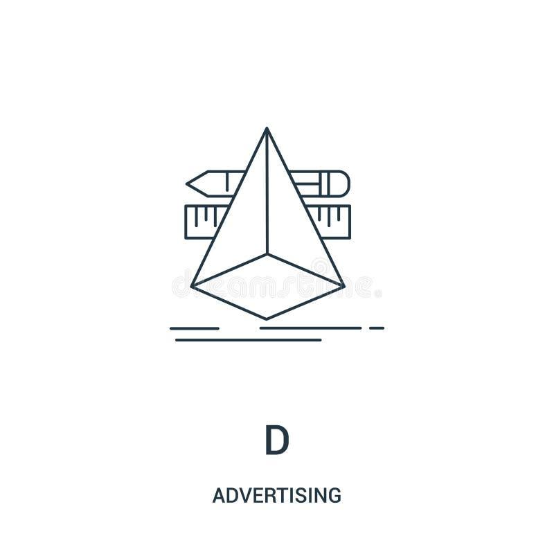 vetor do ícone de d de anunciar a coleção Linha fina ilustração do vetor do ícone do esboço de d Símbolo linear para o uso na Web ilustração royalty free