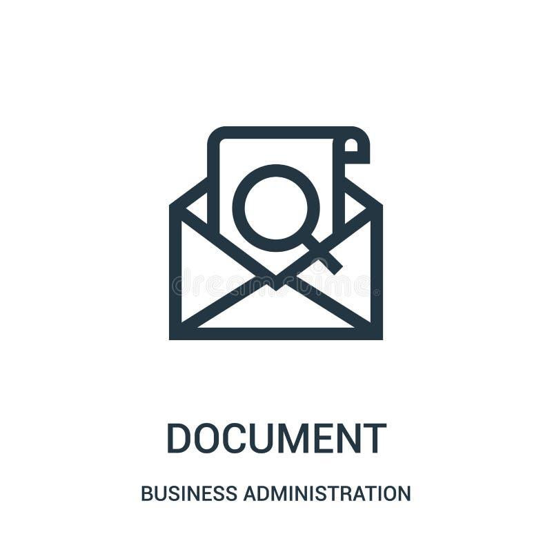 vetor do ícone de documento da coleção da administração de empresas Linha fina ilustração do vetor do ícone do esboço do document ilustração royalty free