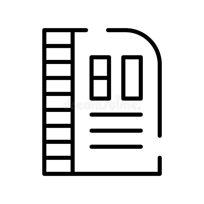 Vetor do ícone de documento isolado no fundo branco, no sinal do documento, na linha símbolo ou no projeto linear do elemento no  ilustração royalty free