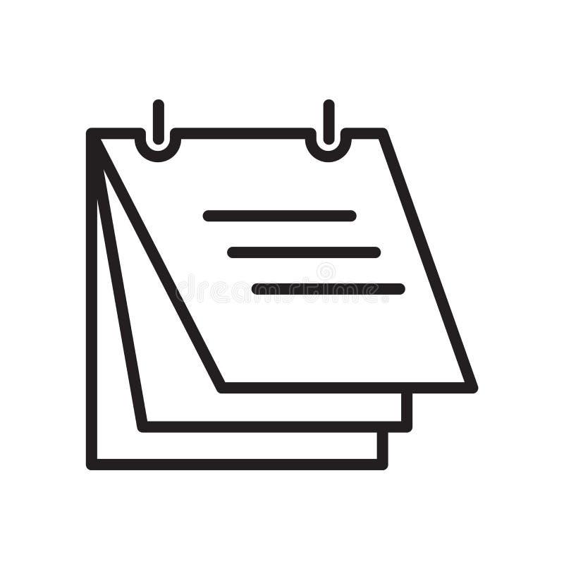 Vetor do ícone de documento isolado no fundo branco, no sinal do documento, no símbolo linear e nos elementos do projeto do curso ilustração royalty free
