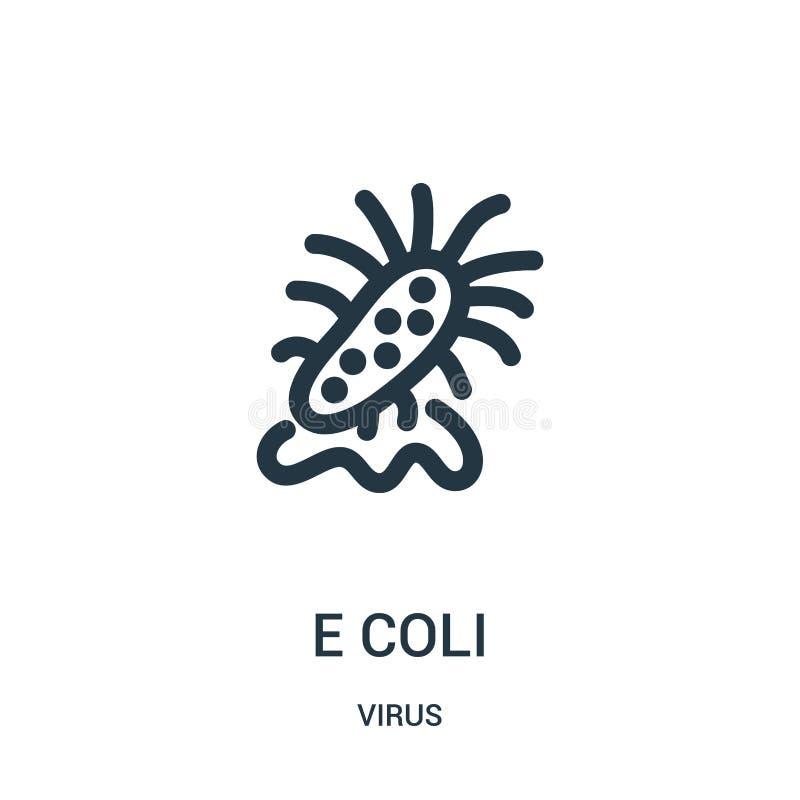vetor do ícone de e coli da coleção do vírus Linha fina ilustração do vetor do ícone do esboço de e coli ilustração stock