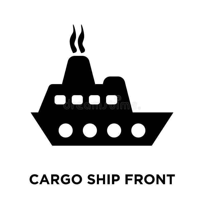Vetor do ícone de Front View do navio de carga isolado no fundo branco, ilustração royalty free