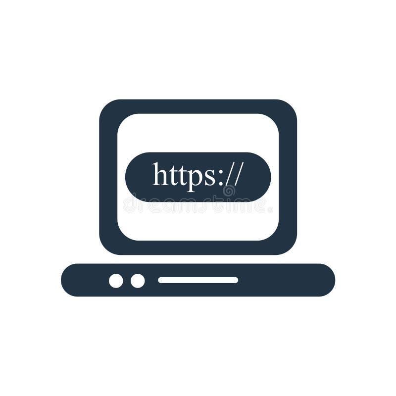 Vetor do ícone de Https isolado no fundo branco, sinal de Https ilustração stock