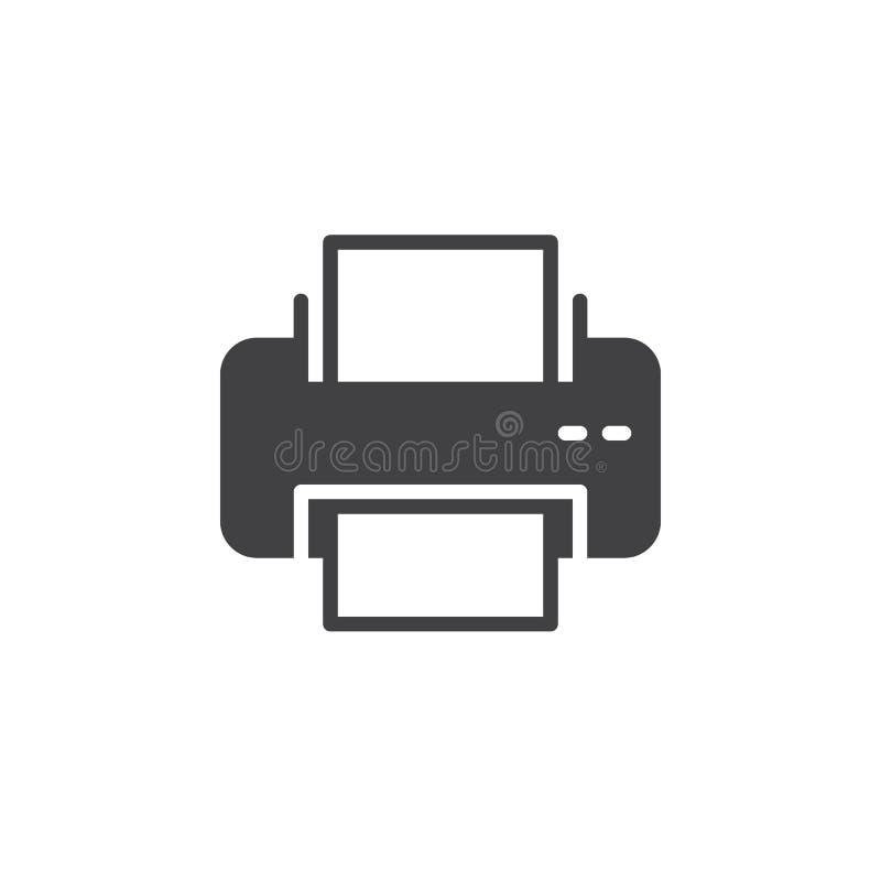Vetor do ícone de impressora, sinal liso enchido ilustração royalty free