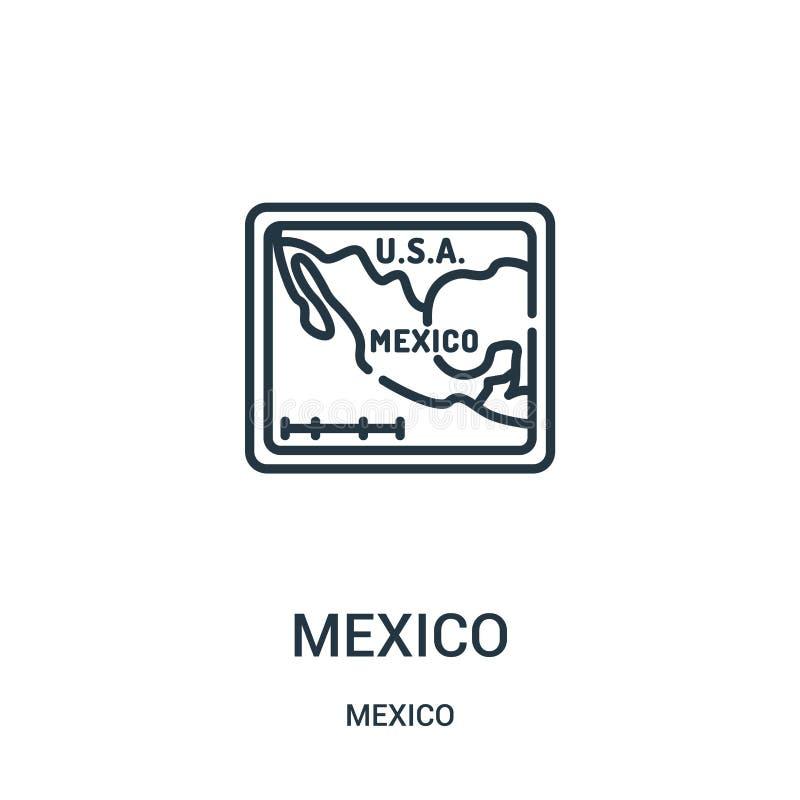 vetor do ícone de México da coleção de México Linha fina ilustração do vetor do ícone do esboço de México ilustração stock