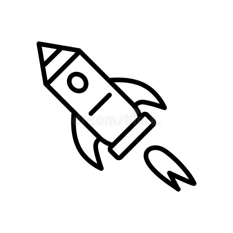 Vetor do ícone de Rocket de espaço isolado no fundo branco, Roc do espaço ilustração stock