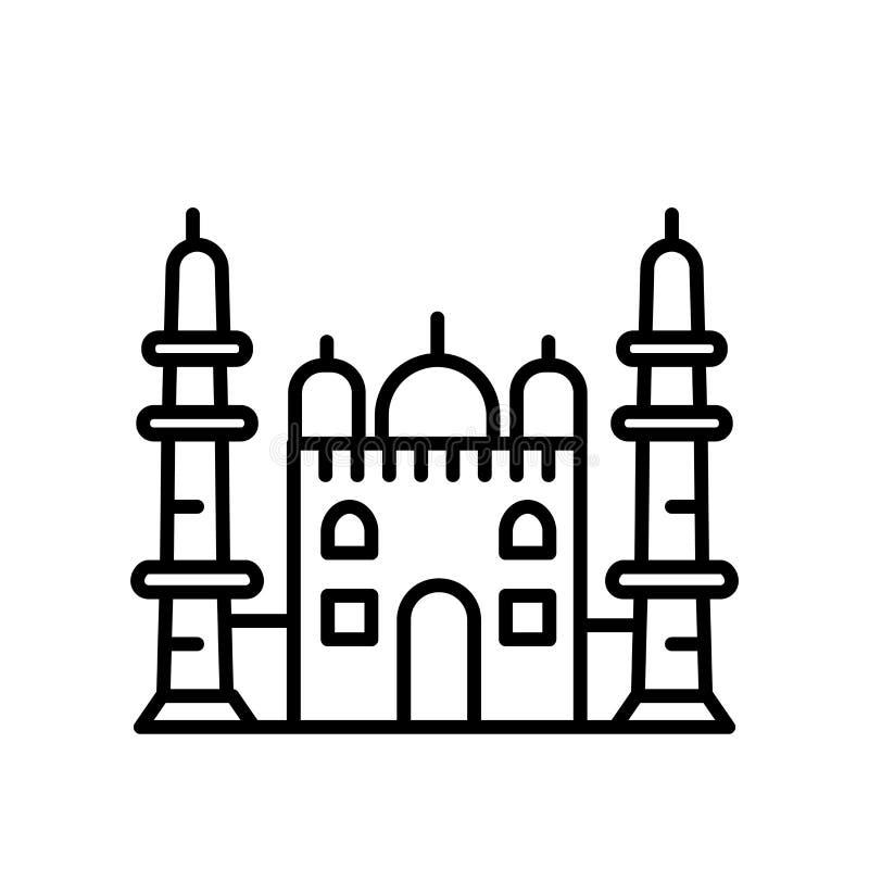 Vetor do ícone de Taj Mahal isolado no fundo branco, no sinal de Taj Mahal, na linha ou no sinal linear, projeto do elemento no e ilustração do vetor