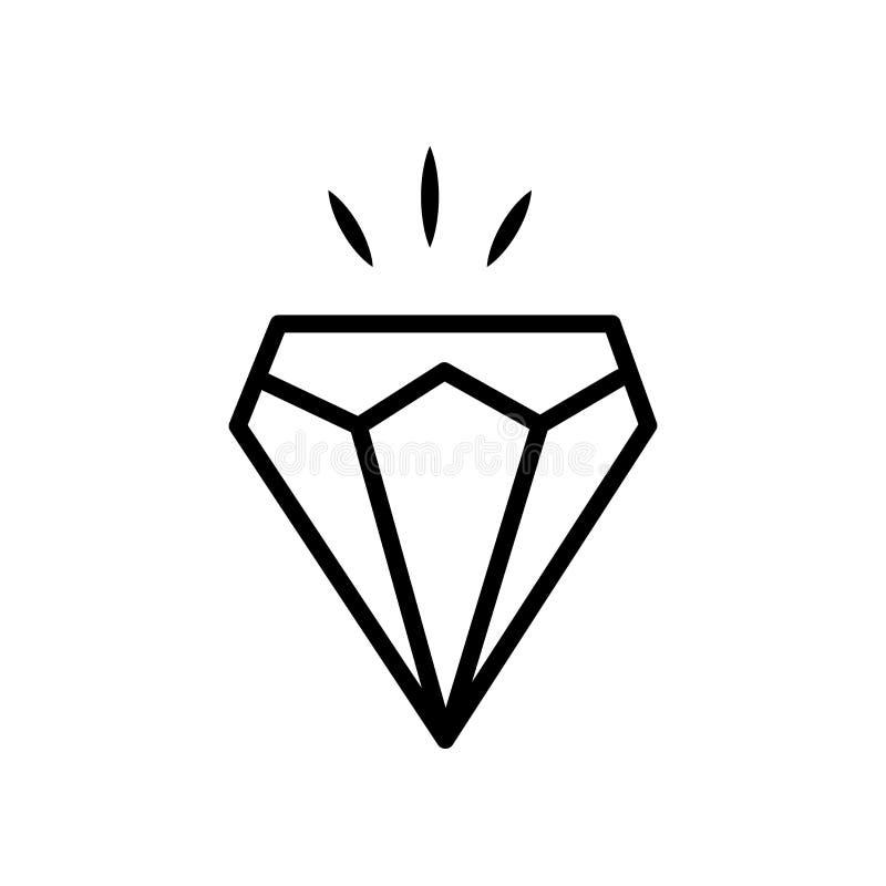 Vetor do ícone do diamante isolado no fundo branco, sinal do diamante ilustração do vetor