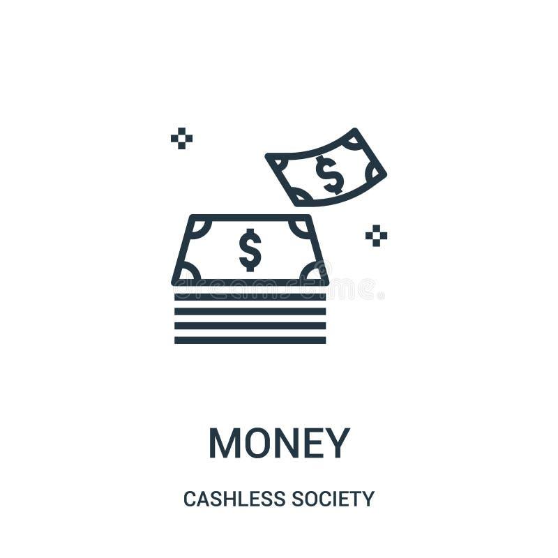 vetor do ícone do dinheiro da coleção cashless da sociedade Linha fina ilustração do vetor do ícone do esboço do dinheiro ilustração do vetor