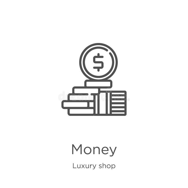 vetor do ícone do dinheiro da coleção luxuosa da loja Linha fina ilustra??o do vetor do ?cone do esbo?o do dinheiro Esbo?o, linha ilustração royalty free