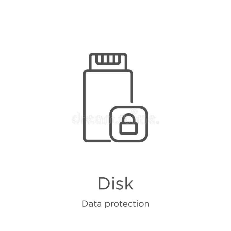vetor do ícone do disco da coleção da proteção de dados Linha fina ilustração do vetor do ícone do esboço do disco Esboço, linha  ilustração stock