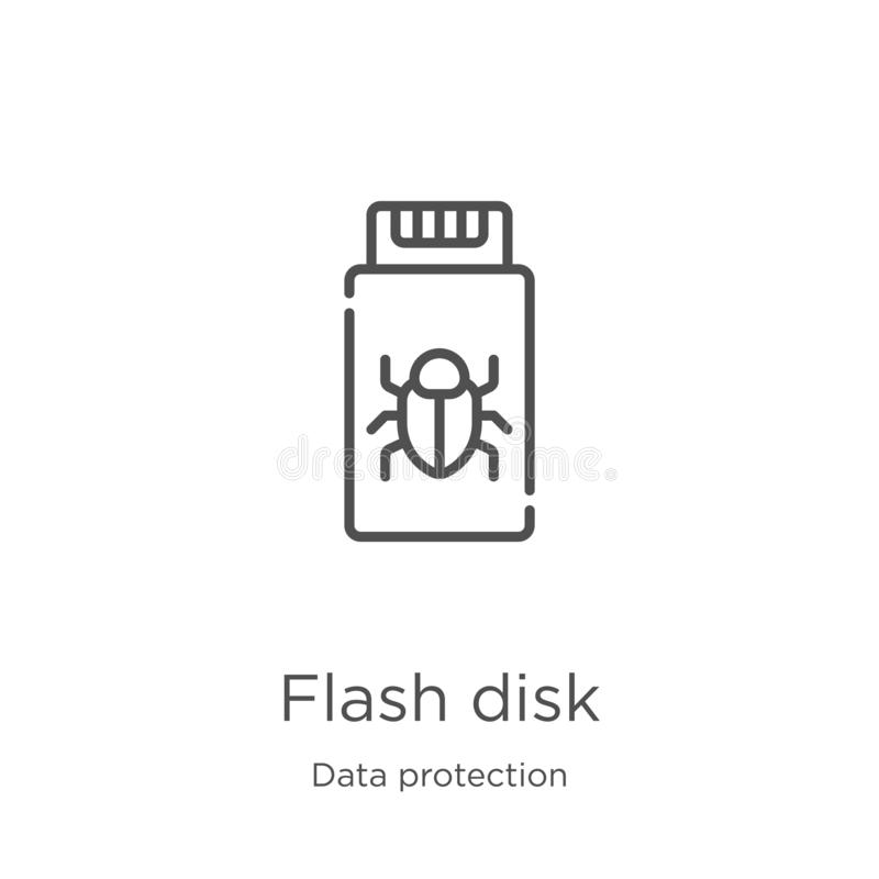 vetor do ícone do disco instantâneo da coleção da proteção de dados Linha fina ilustração do vetor do ícone do esboço do disco in ilustração stock