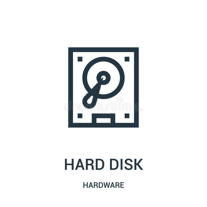 vetor do ícone do disco rígido da coleção do hardware Linha fina ilustração do vetor do ícone do esboço do disco rígido ilustração royalty free