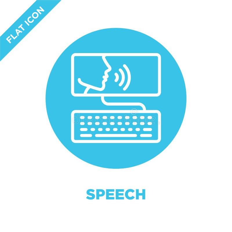 vetor do ícone do discurso da coleção da acessibilidade Linha fina ilustração do vetor do ícone do esboço do discurso Símbolo lin ilustração stock