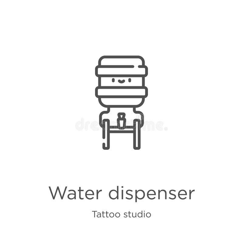 vetor do ícone do distribuidor da água da coleção do estúdio da tatuagem Linha fina ilustração do vetor do ícone do esboço do dis ilustração royalty free
