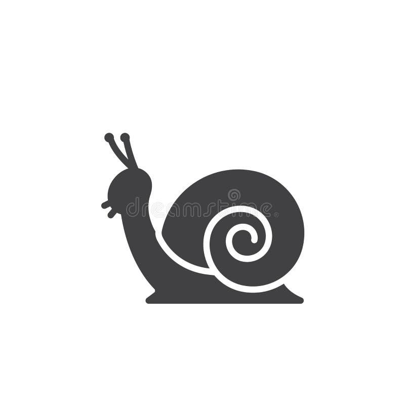 Vetor do ícone do caracol, sinal liso enchido ilustração stock