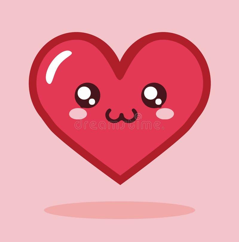 Vetor do ícone do coração dos desenhos animados de Kawaii ilustração royalty free