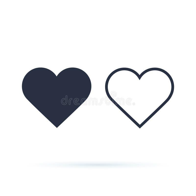 Vetor do ícone do coração Esboço e corações completos Símbolo do amor foto de stock royalty free