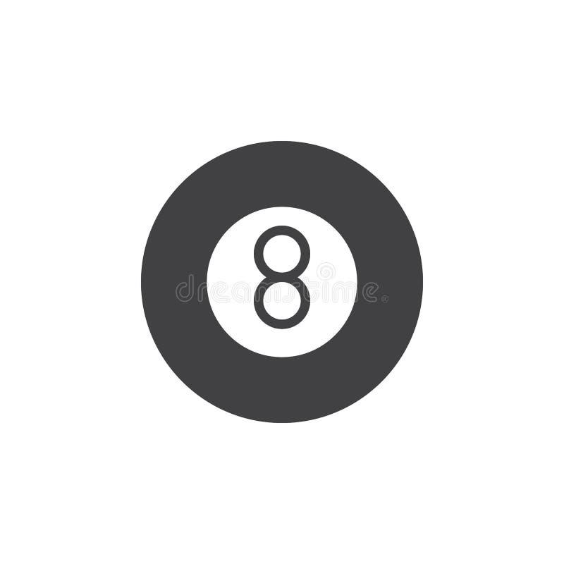 Vetor do ícone do jogo da associação de oito bolas, sinal liso enchido, pictograma contínuo isolado no branco ilustração royalty free