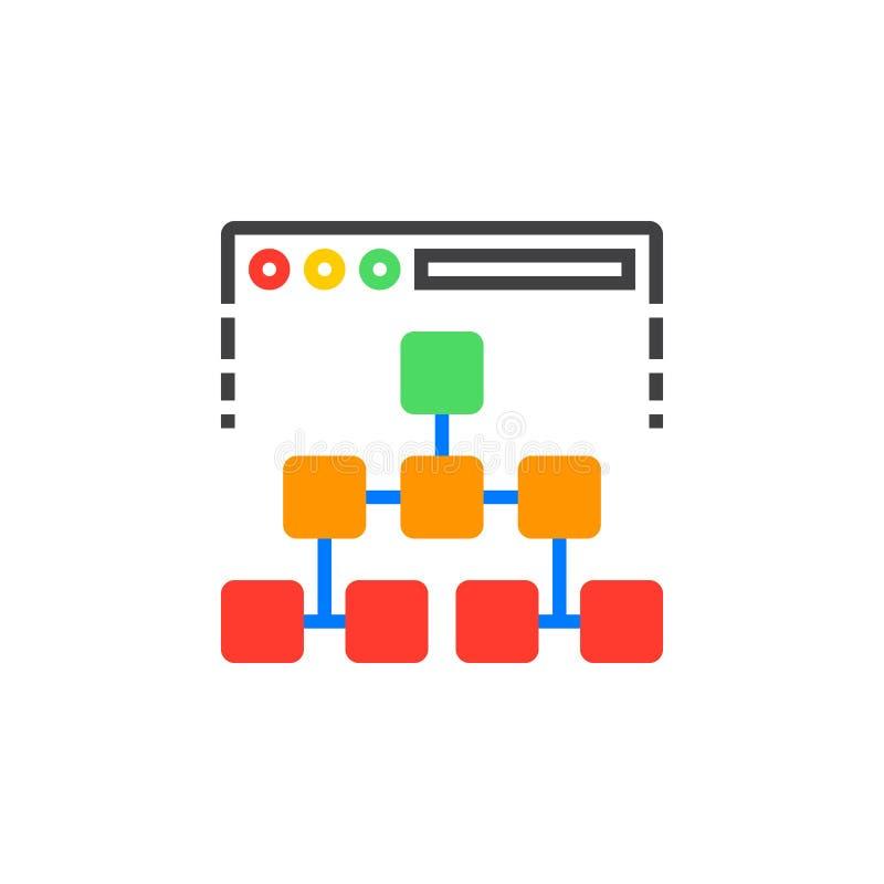 Vetor do ícone do mapa do site, sinal liso enchido, pictograma colorido contínuo ilustração royalty free