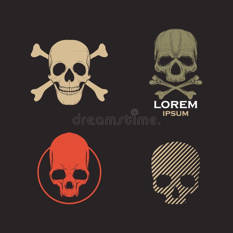 Vetor do ícone do projeto do logotipo do crânio ilustração royalty free