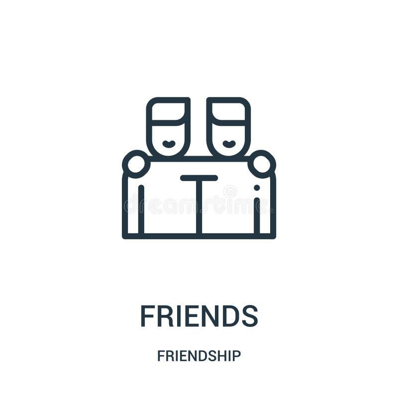 vetor do ícone dos amigos da coleção da amizade Linha fina ilustração do vetor do ícone do esboço dos amigos Símbolo linear para  ilustração royalty free