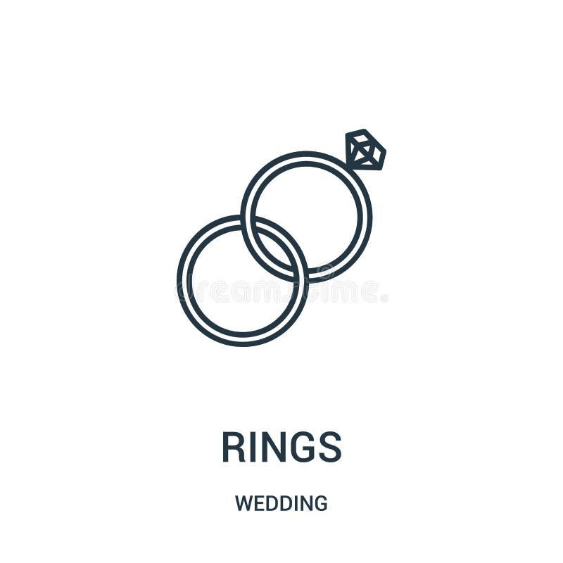 vetor do ícone dos anéis da coleção do casamento A linha fina soa a ilustra??o do vetor do ?cone do esbo?o ilustração do vetor
