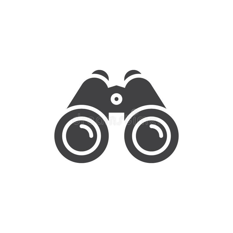 Vetor do ícone dos binóculos, sinal liso enchido ilustração do vetor