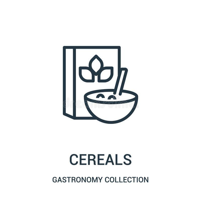 vetor do ícone dos cereais da coleção da coleção da gastronomia Linha fina ilustração do vetor do ícone do esboço dos cereais ilustração royalty free