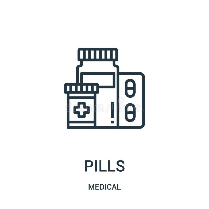 vetor do ícone dos comprimidos da coleção médica Linha fina ilustração do vetor do ícone do esboço dos comprimidos Símbolo linear ilustração do vetor