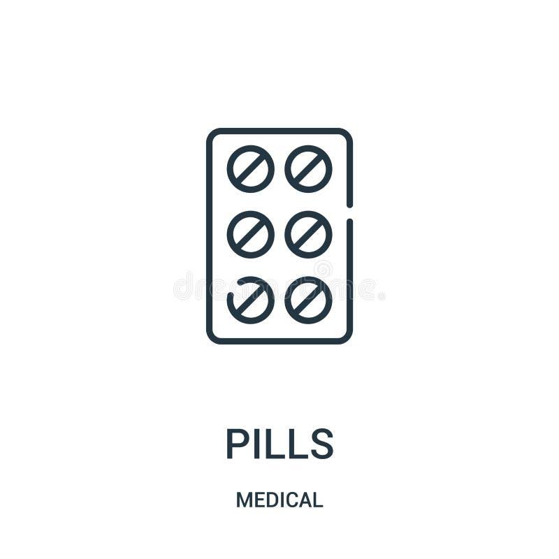 vetor do ícone dos comprimidos da coleção médica Linha fina ilustração do vetor do ícone do esboço dos comprimidos ilustração stock