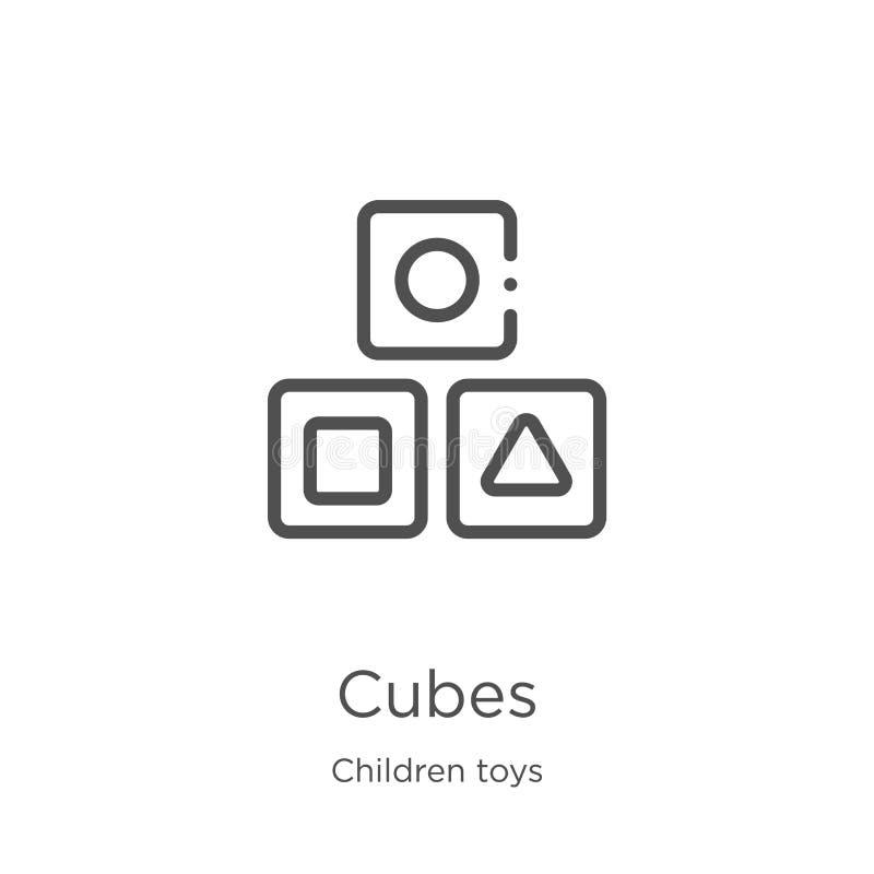 vetor do ícone dos cubos da coleção dos brinquedos das crianças Linha fina ilustração do vetor do ícone do esboço dos cubos Esboç ilustração royalty free