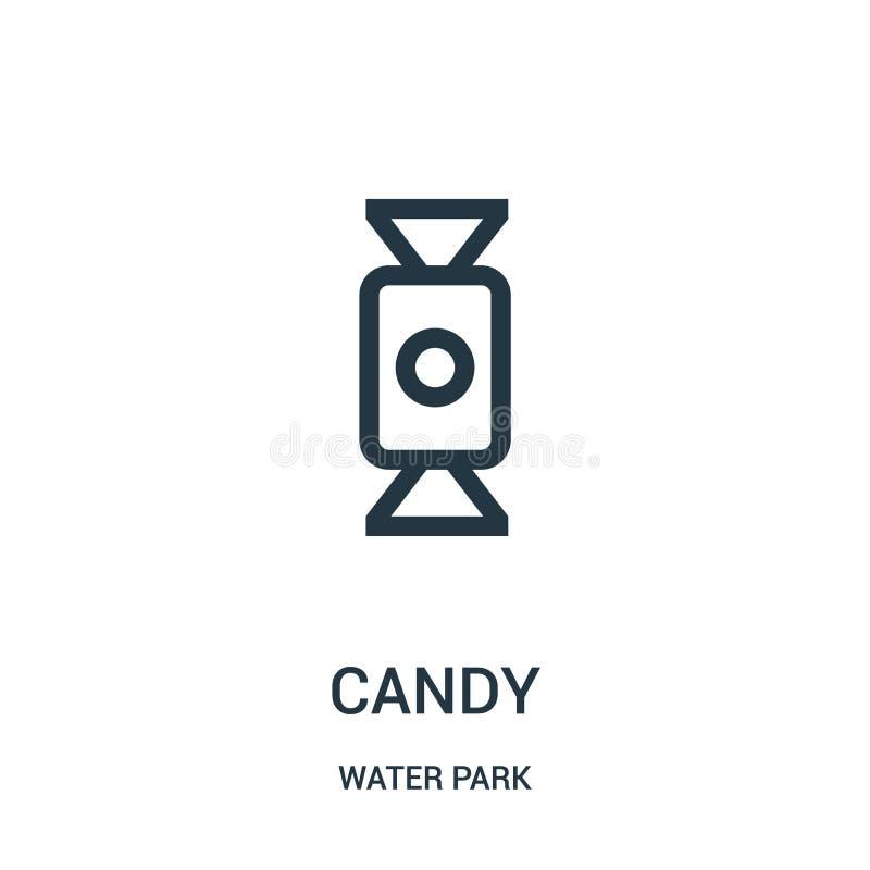 vetor do ícone dos doces da coleção do parque da água Linha fina ilustração do vetor do ícone do esboço dos doces Símbolo linear  ilustração do vetor