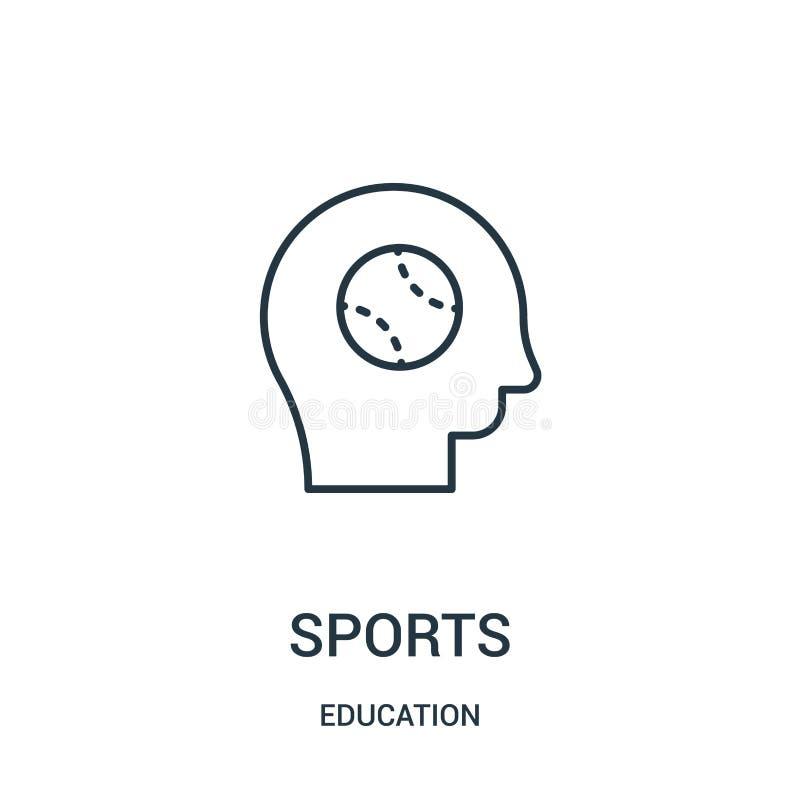 vetor do ícone dos esportes da coleção da educação Linha fina ilustração do vetor do ícone do esboço dos esportes ilustração royalty free