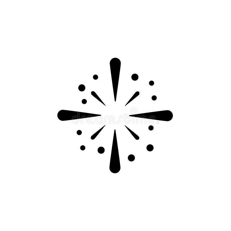 Vetor do ícone dos fogos-de-artifício, sinal liso enchido, pictograma contínuo isolado no branco, ilustração do logotipo ilustração do vetor
