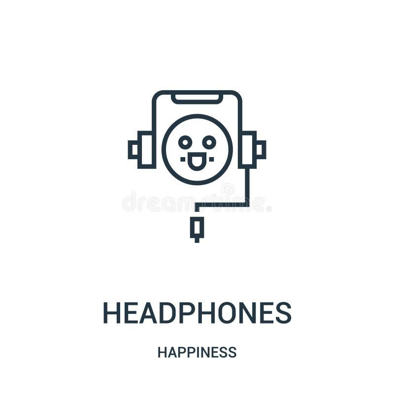 vetor do ícone dos fones de ouvido da coleção da felicidade Linha fina ilustração do vetor do ícone do esboço dos fones de ouvido ilustração do vetor