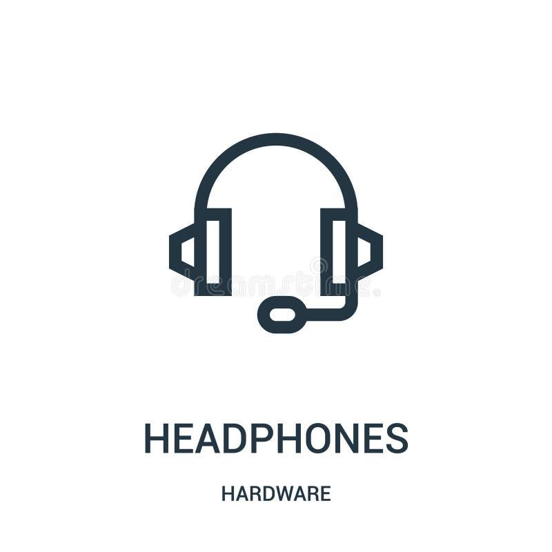vetor do ícone dos fones de ouvido da coleção do hardware Linha fina ilustração do vetor do ícone do esboço dos fones de ouvido ilustração stock