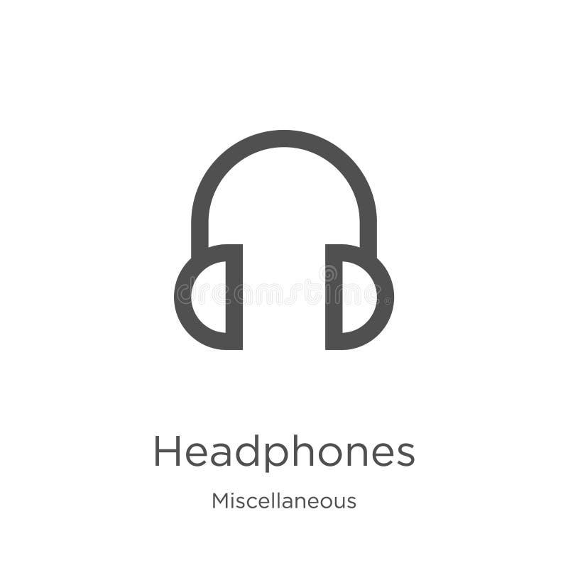 vetor do ícone dos fones de ouvido da coleção variada Linha fina ilustra??o do vetor do ?cone do esbo?o dos fones de ouvido Esbo? ilustração royalty free