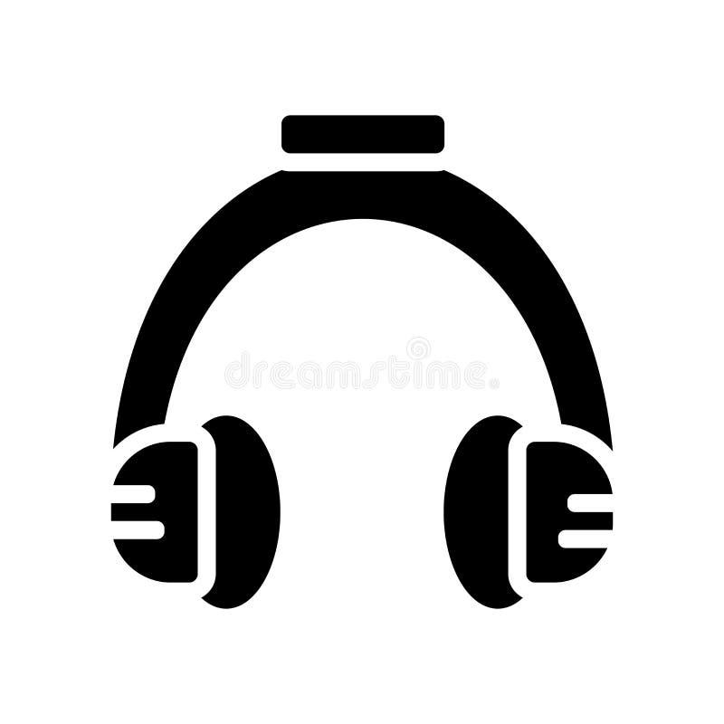 Vetor do ícone dos fones de ouvido isolado no fundo branco, fones de ouvido ilustração royalty free