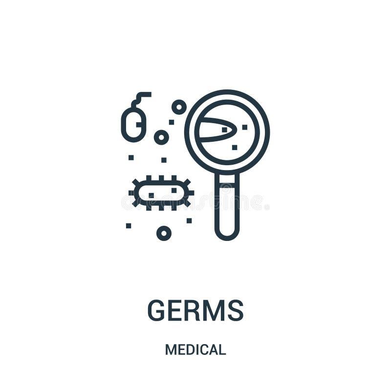 vetor do ícone dos germes da coleção médica Linha fina ilustração do vetor do ícone do esboço dos germes Símbolo linear para o us ilustração royalty free