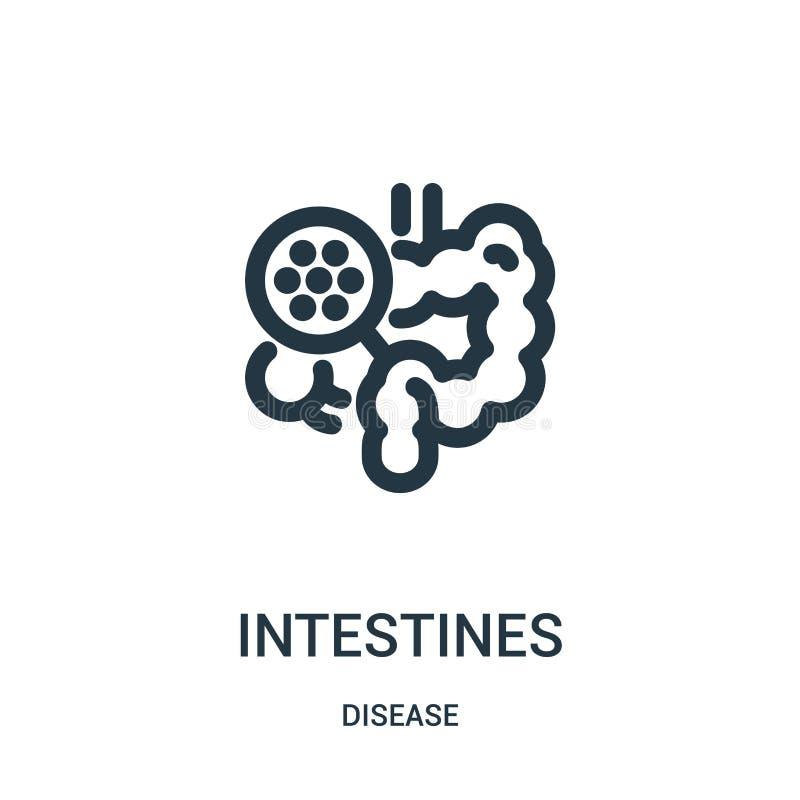 vetor do ícone dos intestinos da coleção da doença Linha fina ilustração do vetor do ícone do esboço dos intestinos Símbolo linea ilustração do vetor