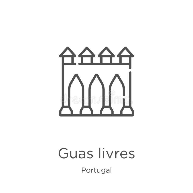 vetor do ícone dos livres dos guas da coleção de Portugal Linha fina ilustração do vetor do ícone do esboço dos livres dos guas E ilustração stock