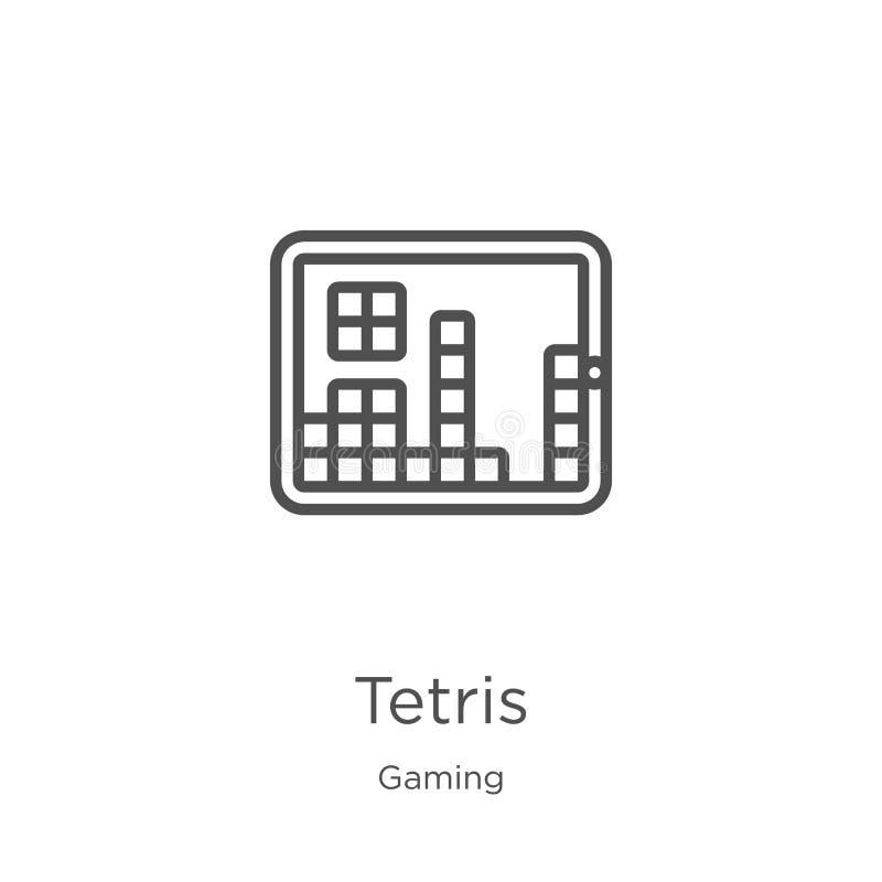 vetor do ícone dos tetris da coleção do jogo Linha fina ilustração do vetor do ícone do esboço dos tetris Esboço, linha fina ícon ilustração stock