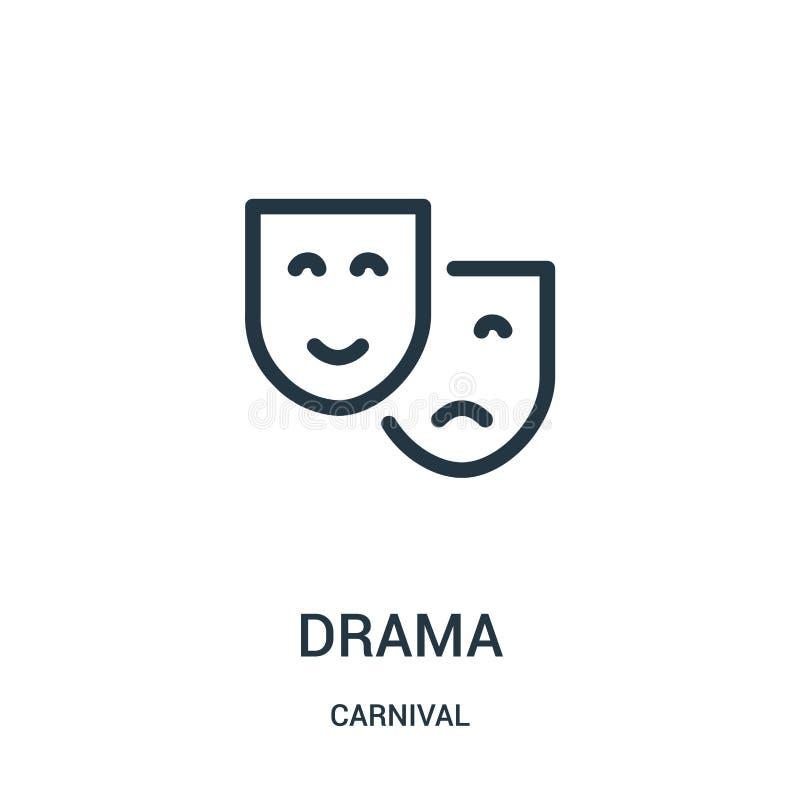 vetor do ícone do drama da coleção do carnaval Linha fina ilustração do vetor do ícone do esboço do drama ilustração do vetor