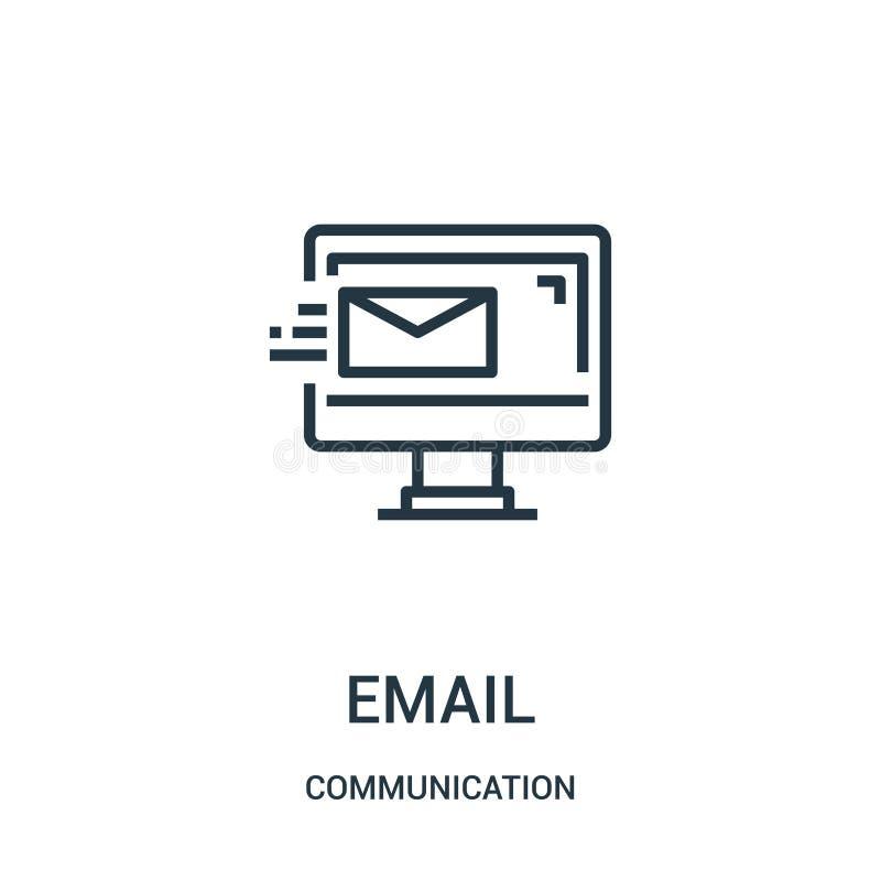 vetor do ícone do e-mail da coleção de uma comunicação Linha fina ilustração do vetor do ícone do esboço do e-mail Símbolo linear ilustração do vetor