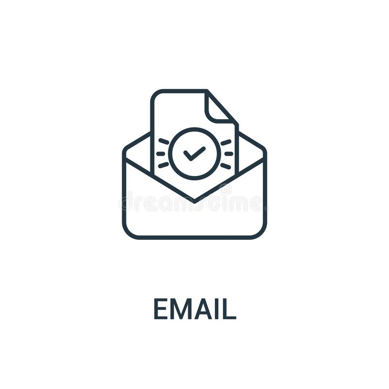 vetor do ícone do e-mail da coleção dos anúncios Linha fina ilustração do vetor do ícone do esboço do e-mail Símbolo linear para  ilustração stock