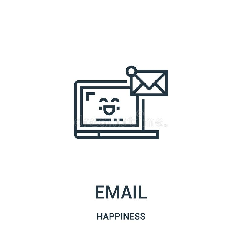 vetor do ícone do e-mail da coleção da felicidade Linha fina ilustração do vetor do ícone do esboço do e-mail Símbolo linear para ilustração royalty free