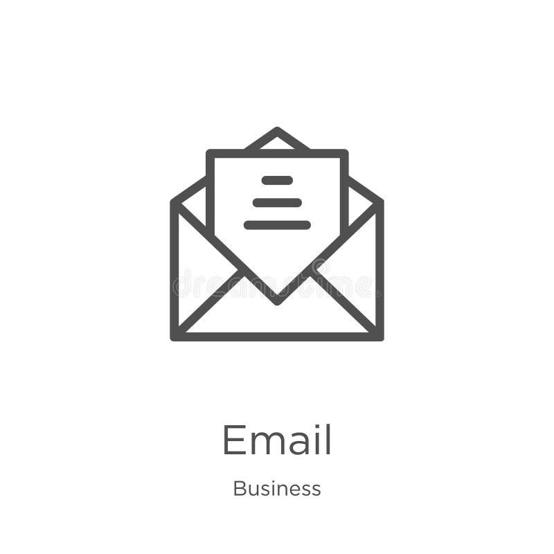 vetor do ícone do e-mail da coleção do negócio Linha fina ilustra??o do vetor do ?cone do esbo?o do e-mail Esboço, linha fina íco ilustração royalty free